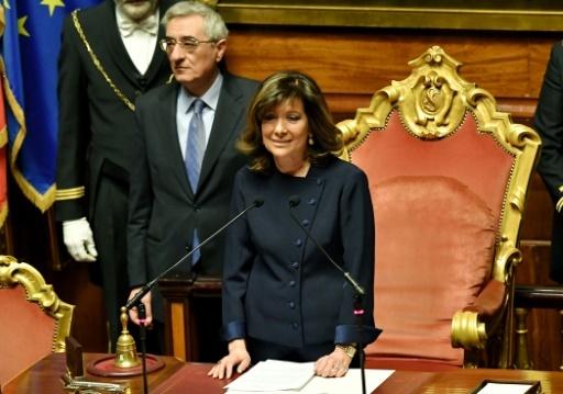 La sénatrice Forza Italia Maria Elisabetta Alberti Casellati élue à la tête du Sénat à Rome le 24 mars 2018 © Andreas SOLARO AFP