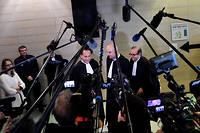 Les avocats de Laura Smet,Pierre-Olivier Sur, Emmanuel Ravanas and Hervé Temime, le 15 mars à Nanterre.