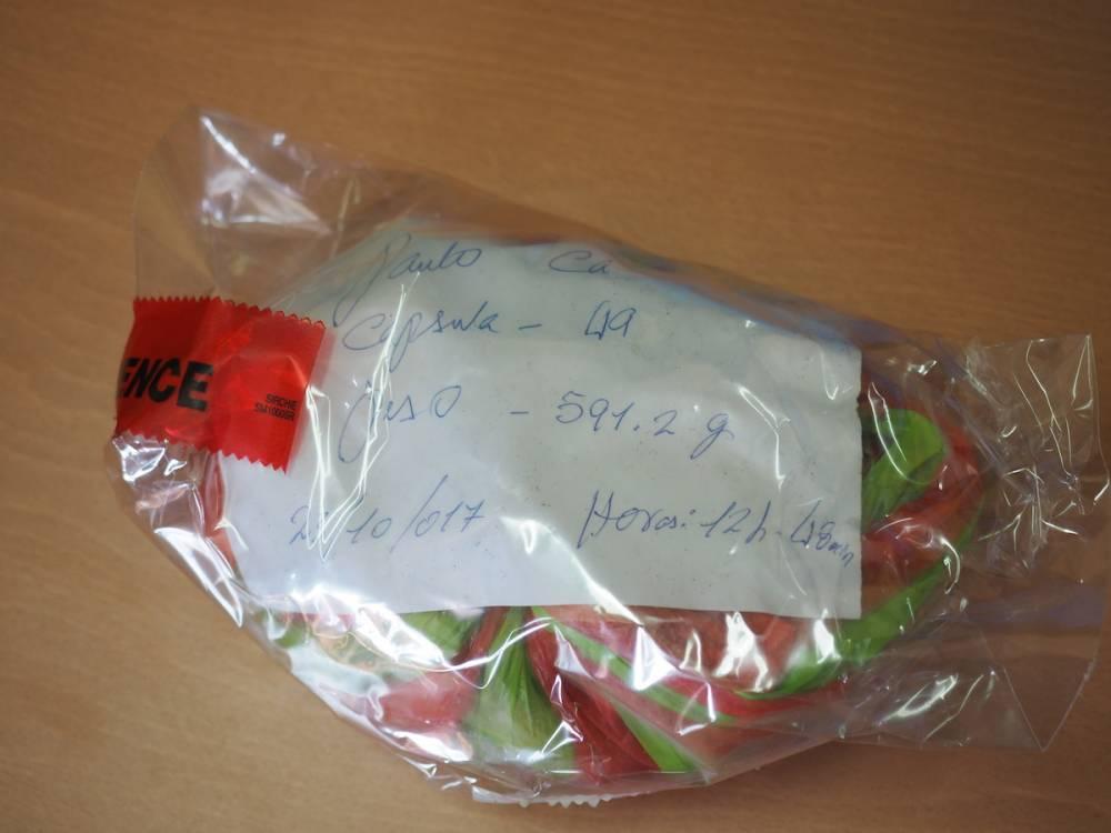 « On me montre un paquet de 49 capsules de cocaïne saisies sur un jeune Bissau-guinéen qui revenait du Brésil.»  ©  Lorraine Mallinder