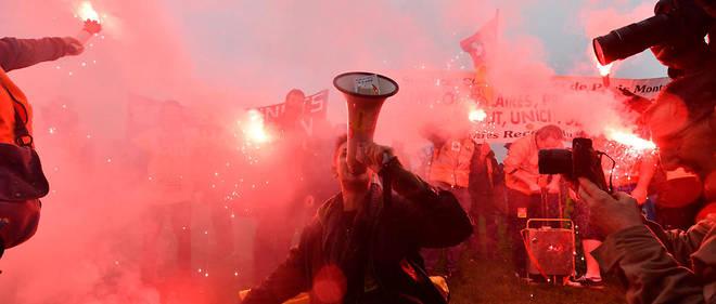 Manifestation des cheminots le 9 avril, à Paris.