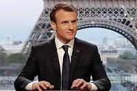 Emmanuel Macron sur le plateau de son interview télévisée par Jean-Jacques Bourdin et Edwy Plenel, dimanche dernier.
