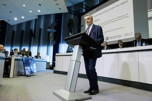 Le Haut commissaire des Nations unies pour les Réfugiés (HCR), Filippo Grandi, lors de la conférence des donateurs en faveur des 5 millions de Syriens réfugiés dans les pays voisins et les 6,1 millions de déplacés internes, le 24 avril 2018 à Bruxelles © THIERRY ROGE Belga/AFP