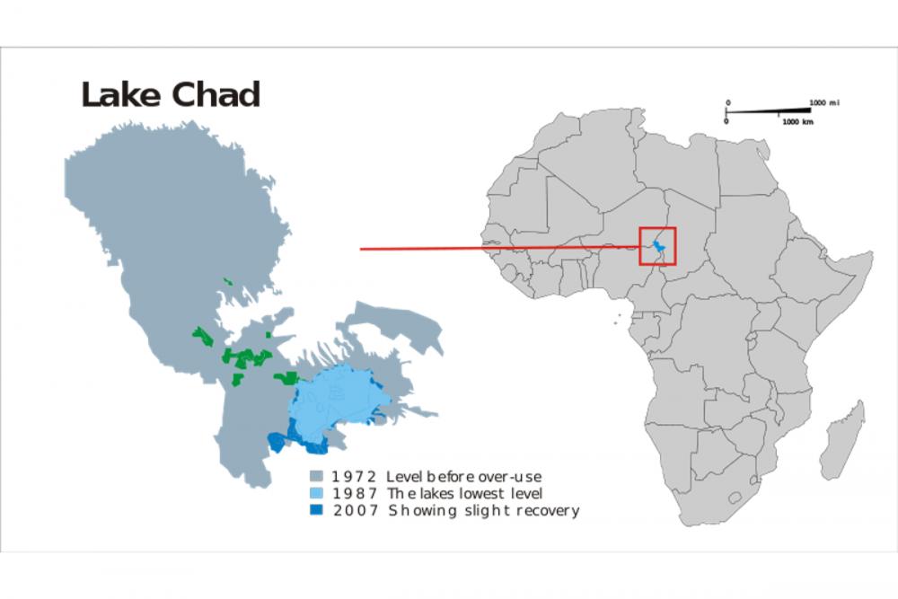 Le lac Tchad a perdu 95 % de sa superficie. Sa portion nigériane a, elle, pratiquement disparu. ©  wiki