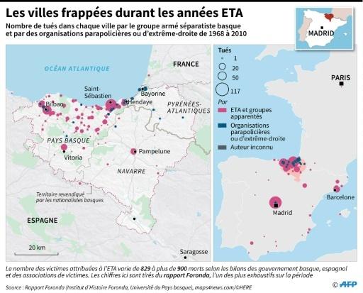 Les villes frappées durant les années ETA © Thomas SAINT-CRICQ AFP