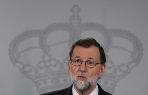 Le Premier ministre espagnol Mariano Rajoy lors d'une conférence de presse avec son homologue turc au Palais de La Moncloa à Madrid le 24 avril 2018 © PIERRE-PHILIPPE MARCOU AFP/Archives