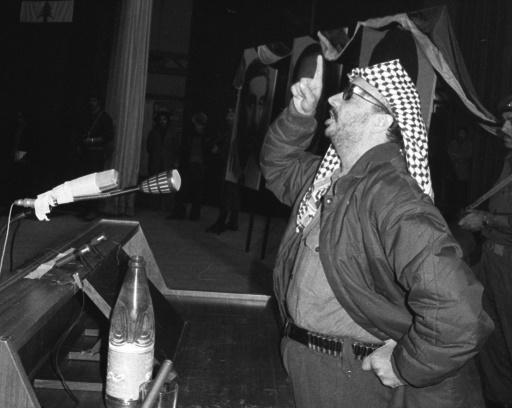 Yasser Arafat donne un discours à évènement organisé par le parti nassériste à Beyrouth en 1973 ©  AFP/Archives