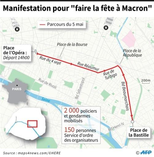 """Carte du parcours de la Manifestation pour """"faire la fête à Macron"""" du 5 mai à Paris  ©  AFP"""