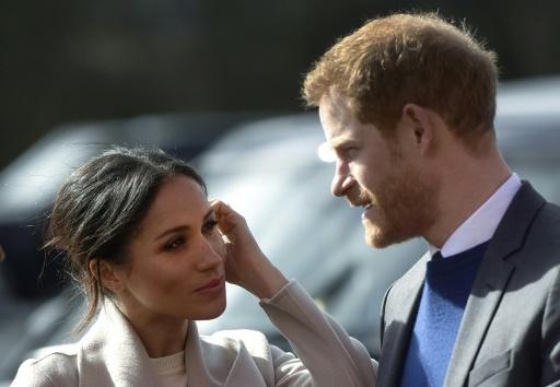 Meghan Markle avec son fiancé le prince Harry, le 23 mars 2018 à Lisburn. © Mark MARLOW AFP/Archives