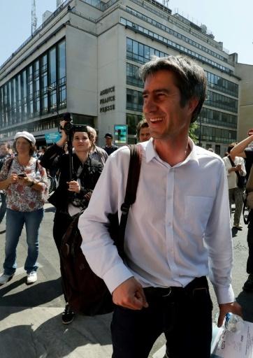 Le député LFI François Ruffin à l'initiative de cette manifestation un an après l'arrivée d'Emmanuel Macron à l'Elysée  © Francois GUILLOT AFP