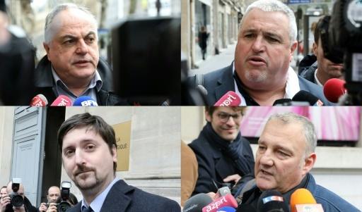 Les représentants syndicaux Roger Dillenseger (Unsa-Cheminots, en haut à gauche), Didier Aubert (CFDT-Cheminots, en haut à droite), Laurent Brun (CGT, en bas à gauche) et Eric Santinelli (Sud-rail, en bas à droite) © LUDOVIC MARIN AFP/Archives