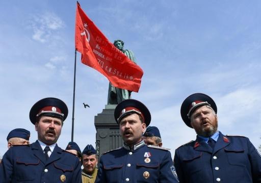 Des cosaques pro-Poutine réunis place Pouchkine, dans le centre de Moscou, le 5 mai 2018 © Kirill KUDRYAVTSEV AFP