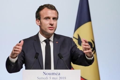 Discours d'Emmanuel Macron au Théâtre de l'Ile à Nouméa le 5 mai 2018 © Ludovic MARIN AFP