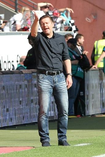 L'entraîneur de Hambourg, Christian Titz, lors d'un match de Bundesliga face à l'Einstracht Francfort, à Francfort-sur-le-Main, le 5 mai 2018 © Daniel ROLAND AFP