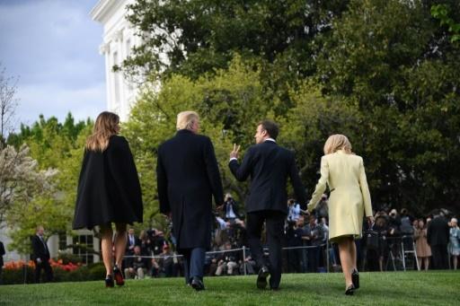 Donald et Melania Trump reçoivent Emmanuel Macron et sa femme en avril 2018 à Washington © JIM WATSON AFP/Archives