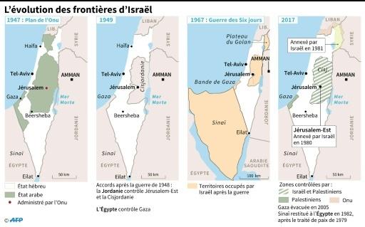 L'évolution des frontières d'Israël © Jochen GEBAUER, AFP AFP
