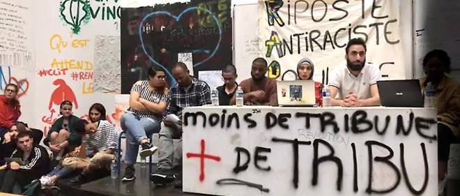 Laboratoire. Capture d'écran de la vidéo partagée par la RAP (Riposte antiraciste populaire) sur Facebook. 23 avril, réunion du front commun des facultés contre la sélection, dans l'amphi B2 de l'université Paris-VIII, à Saint-Denis.
