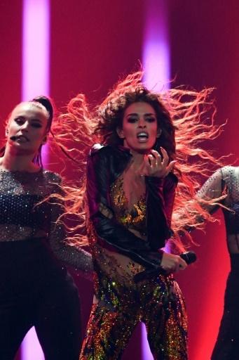 La chanteuse grecque d'origine albanaise Eleni Foureira représentait Chypre et se classe 2eme de la 63e édition du concours de l'Eurovision, à Lisbonne le 12 mai 2018 © Francisco LEONG AFP