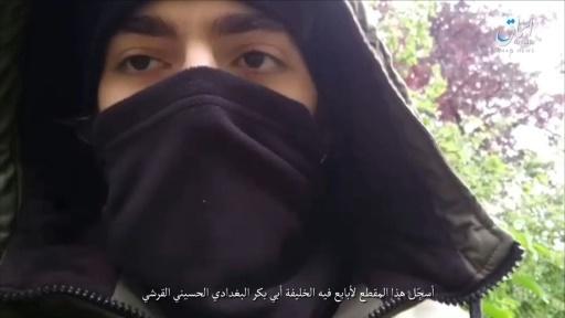 Capture d'écran de la vidéo de Khamzat Azimov diffusée par Amaq, l'agence de propagande de l'EI, le 13 mai 2018 © - AMAQ NEWS AGENCY/AFP