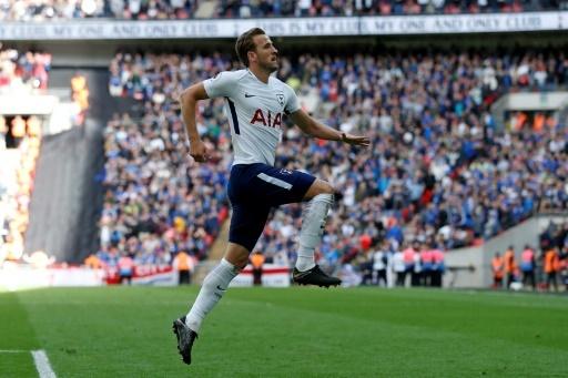 Le buteur de Tottenham Harry Kane s'est illustré avec un doublé contre Leicester City à Wembley, le 13 mai 2018 © Ian KINGTON AFP