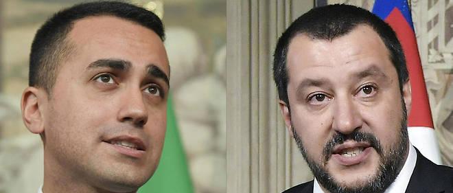 Les vainqueurs des élections italiennes, le leader du Mouvement 5 étoiles Luidi Di Maio (à gauche) et le chef du parti d'extrême droite la Ligue, Matteo Salvini (à droite).