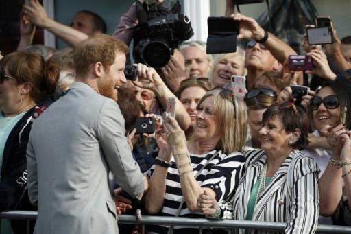Le prince Harry remercie des fans à Windsor le 18 mai 2018 © Odd ANDERSEN AFP