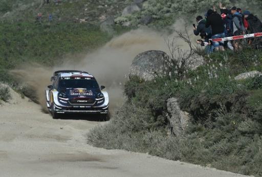 Le Français Sébastien Ogier et son copilote Julien Ingrassia sur les routes du Rallye du Portugal à Vieira do Minho, le 19 mai 2018 © FRANCISCO LEONG AFP