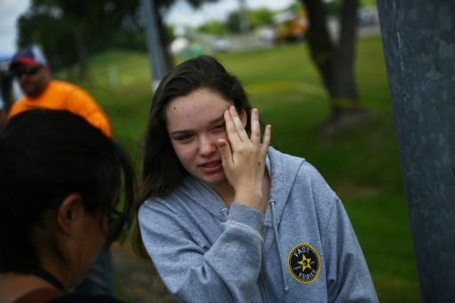 La lycéenne Tori White s'exprime devant des journalistes le 19 mai 2018 à Santa Fe (Texas) © Brendan Smialowski AFP