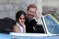 Meghan Markle et le prince Harry après leur mariage à Windsor.  ©STEVE PARSONS