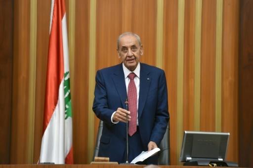 Photo distribuée ar le bureau de presse du Parlement libanais le 23 mai 2018 montrant le président de la Chambre Nabih Berri s'exprimant au Parlement à Beyrouth après sa réélection pour un 6e mandat  © HO LEBANESE PARLIAMENT/AFP