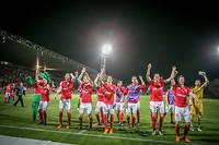 La joie des joueurs de Nîmes après la victoire contre Ajaccio, le 4 mai, qui assure leur remontée en Ligue 1. ©JEAN CLAUDE AZRIA