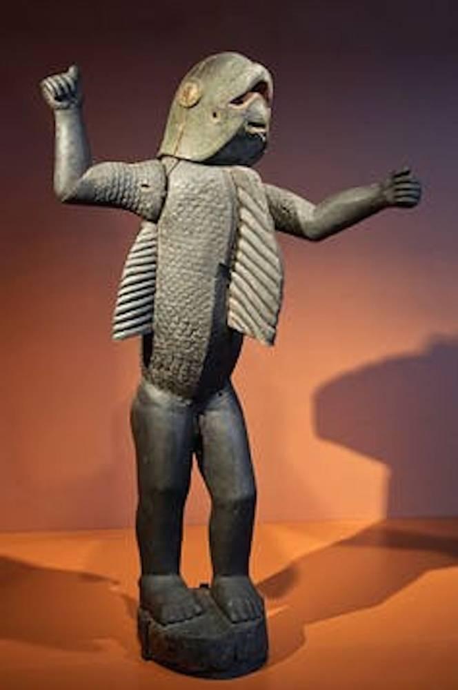 Statue royale anthropo-zoomorphe, dite bochio, de style Fon. Provenance : Abomey, royaume du Danhomé (aujourd'hui Bénin).  ©  Quai Branly/Wikipédia