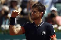 Dominic Thiem, ici lors de la demi-finale contreMarco Cecchinato. L'Autrichien, qui affronte Nadal en finale, n'a concédé que trois sets depuis le début de Roland-Garros.    ©Mehdi Taamallah
