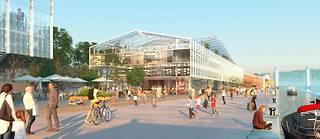 Dessiné par l'architecte Marc Mimram, le hangar du 105à Rouen a été pensé comme un prolongement de l'espace public, avec une place urbaine, un atrium, une terrasse panoramique…
