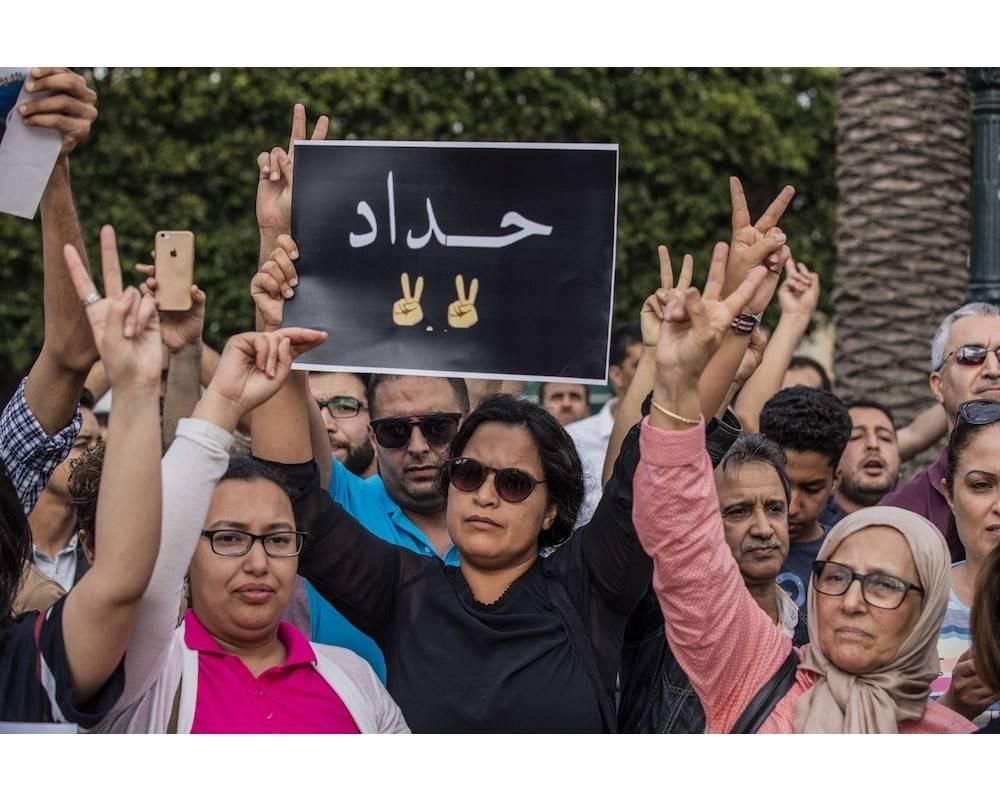 Manifestation à Rabat en soutien aux leaders du Hirak lourdement condamnés.  ©  Jalal Morchidi / Anadolu Agency