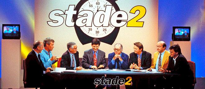 En 1994, Robert Chapatte participe à la 1000 e de «Stade2» avec Patrick Chêne et Pierre Salviac, entre autres. Une émission mythique et encore à l'antenne.  ©FALOUR/STILLS