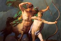 L'éducation d'Achille, ce fils d'une femme surprotectrice qui le fait élever par le plus grand des maîtres, le centaure Chiron, puis l'habille en fille pour mieux l'écarter des combats. Peinture de Jean-Baptiste Regnault (1754-1829), 1782. Huile sur toile. Musée du Louvre, Paris.