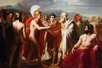 Durant le siège de Troie, Achille remet le prix de la sagesse à Nestor, le vieux roi de Pylos, devant Agamemnon. Tableau de Charles-Philippe Larivière (1798-1876).