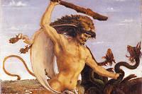 Deuxième des Travaux d'Héraclès, son combat contre l'hydre de Lerne, un monstre possédant plusieurs têtes. Tableau d'Antonio Benci (1431-1498).