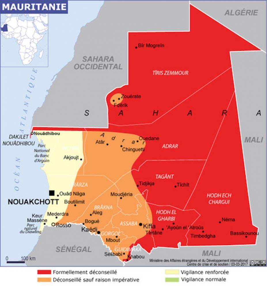 Carte des zones d'alerte en Mauritanie.  ©  Quai d'Orsay