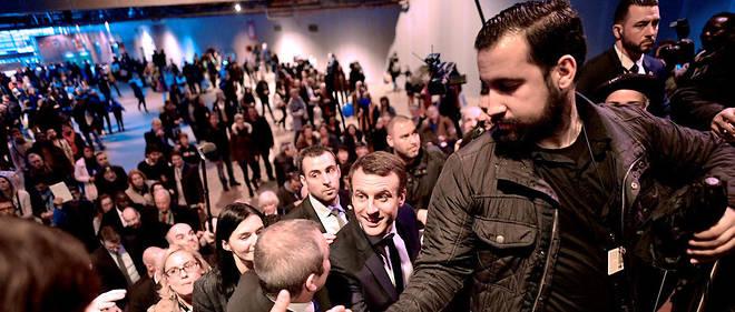 Alexandre Benalla lors d'un déplacement avec Emmanuel Macron, le 1er mars 2017.