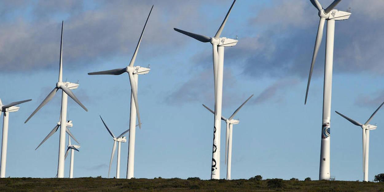 Un champ d\'éoliennes à Villeveyrac                           dans l\'Hérault.