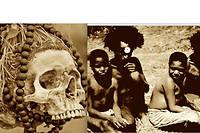 Crâne et Papous Fore cannibales