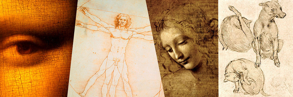 Tout feu, tout flamme.          Ce qui caractérise le génie, c'est la multiplicité de ses applications. De gauche à droite, un détail de «La Joconde» (vers 1503-1506), le tableau le plus connu au monde; le dessin «Les proportions humaines» (1490), d'après «L'homme de Vitruve»; «La scapigliata» («L'ébouriffée») ou «Tête de jeune fille» (vers 1508); étude dechien et chats.