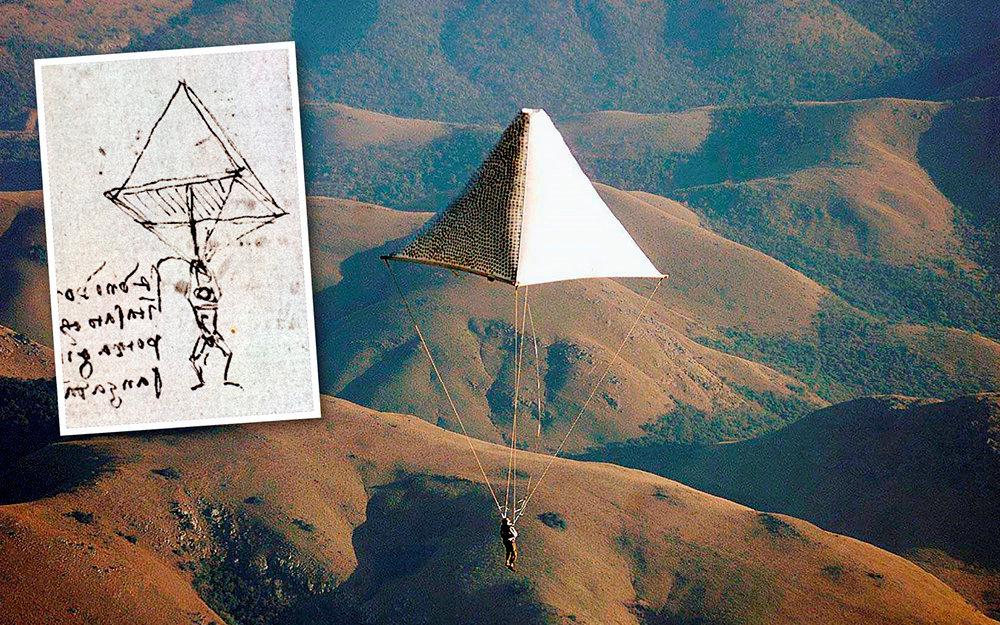 Mission impossible. En2000fut retrouvé leplan d'un parachute conçu par Léonard (dessin). Expérimenté la même année enAfrique du Sud (photo), l'engin aurait tué son utilisateur si ce dernier n'avait pas déployé, avant l'atterrissage, unparachute ventral moderne, beaucoup plus léger.
