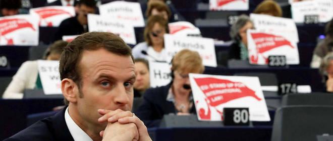 Emmanuel Macron lors d'un déplacement au Parlement européen de Strasbourg le 17 avril 2018.