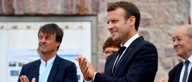 Nicolas Hulot et Emmanuel Macron à Plevenon (Côtes-d'Armor) le 20 juin 2018.
