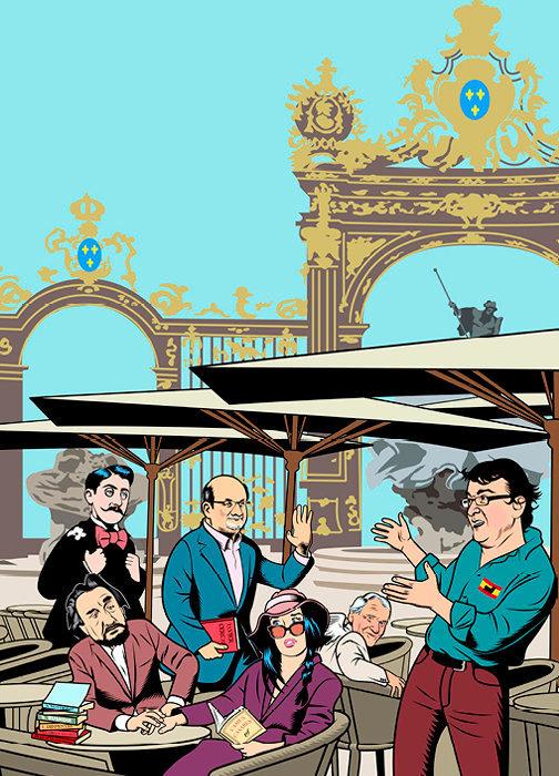 Rêve. La place Stanislas, haut lieu du festival, vue par notre illustrateur, Dusault. Une rencontre au sommet entre Proust, Gary, Rushdie, Adjani et Cercas, sous l'œil bienveillant de Jean d'Ormesson.