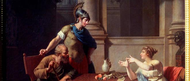 Socrate et Alcibiade chez Aspasie. Le philisophe grec Socrate (5e siècle avant J.-C.) et l'homme d'État et général athénien Alcibiade (450-404 avant J.-C.) en discussion avec Aspasie, hétaire (prostituée grecque) de haut rang, appréciée pour ses talents intellectuels et sa beauté. Huile sur toile. Art francais, style classique.