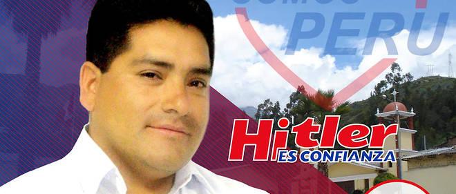 L'affiche électorale de Hitler Alba Sánchez . En Amérique latine, de nombreux prénoms sont donnés sans connaître le contexte historique.