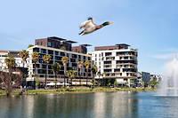 Le quartier de Port Marianne, un des grands projets urbanistiques de Montpellier, a permis l'implantation de nombreux immeubles d'habitation etde bureaux.    ©Ian HANNING/REA
